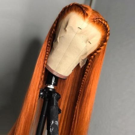200% Density #Orange Color Straight Lace Wigs