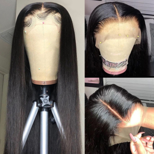 200% Density #1B Natural Black Color Straight Lace Wigs