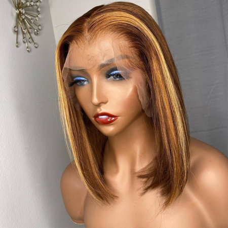 200% Density #L3/27 Colored Short Bob Straight Lace Wigs