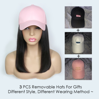 Baseball Cap Hair Wig Connect Human Hair Hat Wig Adjustable