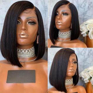 200% Density #1B Natural Black Color Short Bob Straight Lace Wigs
