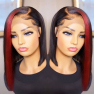 200% Density Red Short Bob Straight Lace Wigs