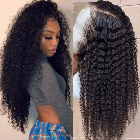200% Density Short Kinky Curly Lace Wigs