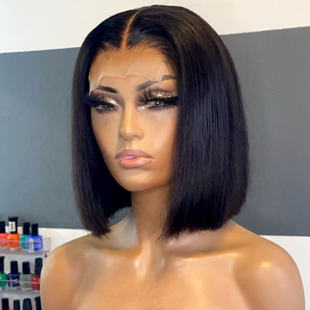 150% Density 4X4 #1B Natural Black Color Short Bob Straight Lace Wigs