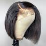 150% Density 4x4 #1B Natural Black Color Short Bob Straight Lace Wigs