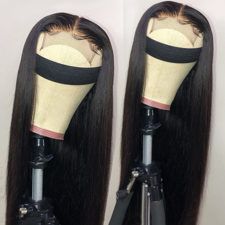 150% Density 4x4 #1B Natural Black Color Straight Lace Wigs