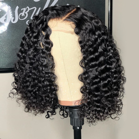 150% Density 4x4 Short Curly Bob Lace Wigs