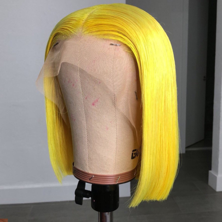 200% Density 14inch #YELLOW Colored Short Bob Straight Lace Wigs