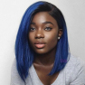 200% Density 14inch #T1B/BLUE 13X6 Colored Bob Straight Lace Wigs