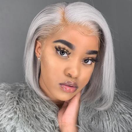 200% Density 14inch #Gray 13X6 Colored Bob Straight Lace Wigs