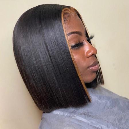 200% Density 1B/27 Short Bob Straight Lace Wigs