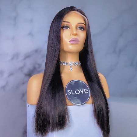 200% Density Natural Black Color Straight Lace Wigs