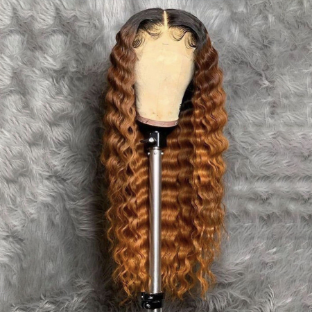 200% Density #1B/27 Color Curly Lace Wigs