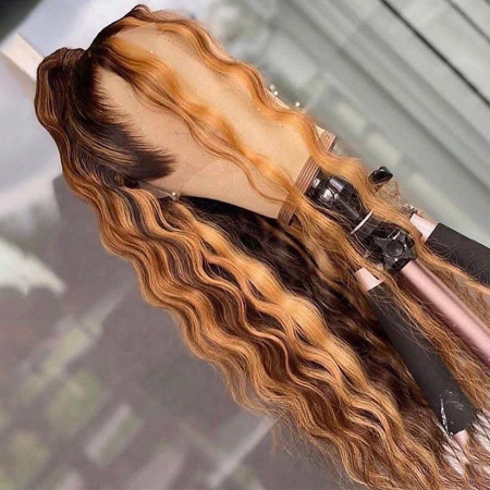 200% Density L3/27 Color Curly Lace Wigs